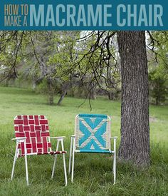 Cool DIY Upcycling Project- How to Make a Macrame Lawn Chair. Macrame Tutorial and pattern for crafty chairs that will look great in the backyard!