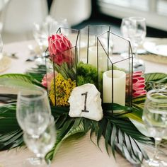 great vancouver wedding Tropical theme centrepiece #wedding #centerpiece #tropical #terrarium by @wedofairytales  #vancouverwedding #vancouverwedding