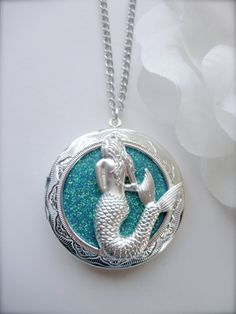 Mermaid Locket Necklace Photo Locket Hand by LadyAgathaBoutique