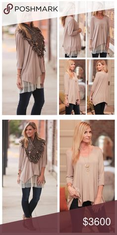 Coming SoonMocha Asymmetrical Tunic will be $36 upon arrivallike this listing to be notified upon arrival.  Listing for top only, Lace Extender sold separately in my closet. Tops Tunics