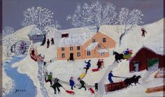 """This elementary lesson focuses on the element of shape and technique of collage to create a winter village scene and exposes young students to the work of """"Grandma Moses"""". The above examples are from Kindergarten where the children had a wonderful time creating these winter landscapes and learning about this classic artist. I start the … … Continue reading →"""