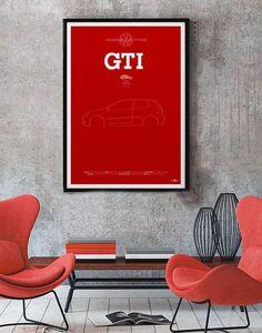 VW Golf GTi Mk5 Poster, VW Golf GTi Mk5 print, Car poster print, Volkswagen print, Volkswagen Golf, GTi poster, Minimalist car poster Active