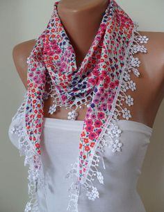 Pink and Purple Flowered Scarf with White Trim Edge by SwedishShop, $14.90