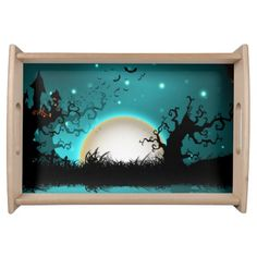 Blue and Black Halloween Moon Serving Tray