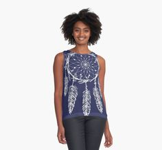 Hand Drawn Dream Catcher Graphic Illustration by Gordon White | Blue Dream Catcher Feather Design on a Contrast Tank Design for Women Available in All Sizes @redbubble #redbubble #women #tops #blouse #dress #outfit #casual #contrasttank #tanktop #design #illustration