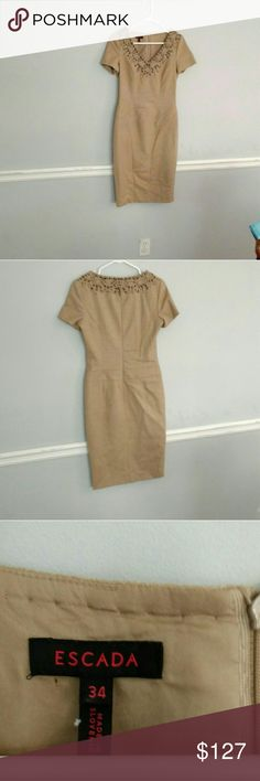 ESCADA, Tan Wool suit dress ESCADA, Tan color wool suit dress with copper fabric detailing around collar, front and back. Excellent condition, like new! European size 2 fits more like a 4, fully lined. Escada Dresses Mini