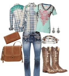 #Grangeoutfit L/S Plaid Shirt & T-Shirt – Roar Wallet & Handbag – #Bandana by #AmericanWest Bracelet & Earrings – M&F Western Charm Boots – #CircleG by #CorralBoots Jeans – #MissMe