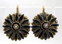 Victorian Mourning Earrings 10K Yellow Gold by TonettesTreasures