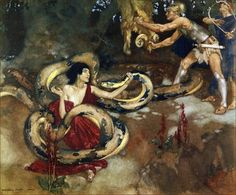 "8.  ""But Medeia called gently to him, and he stretched out his long spotted neck, and licked her hand.""   ----    William Russell Flint Illustrations: The Heroes: Or Greek Fairy Tales for My Children."