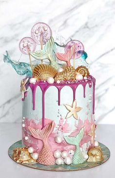 100 Amazing Celebration Cakes For All Occasions - - A good party deserves a celebration cake, don't you agree? Think of a party that celebrates the special day of your kid. Was it ever without a cake? Mermaid Birthday Cakes, Beautiful Birthday Cakes, Mermaid Cakes, Birthday Cakes For Kids, Little Girl Birthday Cakes, Dinosaur Birthday, Beautiful Cake Designs, Beautiful Cakes, Amazing Cakes