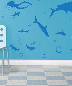 Take a look at this Blue Shark Infested Decal Set by Sharks in the Water: Toys & Books on @zulily today!