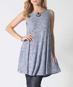Loving this Blue Ribbed Pocket Stretch Tunic on #zulily! #zulilyfinds