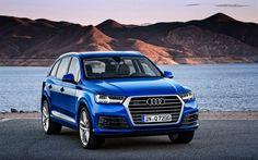 Audi Q7, 2016, S line, blue Q7, crossover Audi