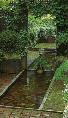 jardin zen et miroir trompe l'oeil