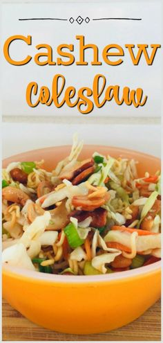 Sweet and tangy, crunchy and delicious, this Cashew Coleslaw recipe comes together fast and will become your new favourite coleslaw! Top Recipes, Salad Recipes, Coleslaw Recipes, Chinese Coleslaw, Appetizer Recipes, Appetizers, Coleslaw Salad, Onion Salad, Cashew Chicken