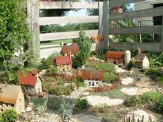 Here at Flea market Gardening, we like to make our own miniature garden accessories when ever possible. It's amazing how ingenious some gardeners can be when inventing miniatures for their gardens and Diana Daily is one! Mini Fairy Garden, Fairy Garden Houses, Gnome Garden, Garden Art, Garden Design, Home And Garden, Garden Crafts, Fairy Gardening, Garden Ideas