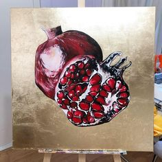 Gouche Painting, Pomegranate Art, Grenades, Fruit Painting, Pen And Watercolor, Hades, My Arts, Abstract, Drawings