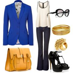Business outfit with blue blazer, gray pants, white dress tank top, black sunglasses and heels, golden jewelry