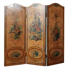 1stdibs   French Three Panel Painted Screen