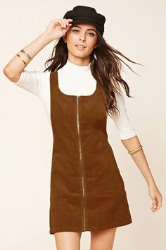 A corduroy overall dress with an exposed zippered front, slanted front pockets, . - A corduroy overall dress with an exposed zippered front, slanted front pockets, and hidden buttoned straps. Skirt Outfits, Fall Outfits, Cute Outfits, Fashion Outfits, Fashion Fashion, Fashion Ideas, Casual Outfits, Vintage Fashion, Jumper Outfit