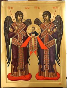 The Lord with Holy Archangels Michael and Gabriel Archangel Gabriel, Archangel Michael, Byzantine Icons, Byzantine Art, Religious Icons, Religious Art, Best Icons, Angels Among Us, Art Icon