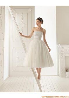 Robe de mariée princesse courte tulle taille empire