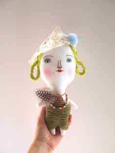 Linen doll hand embroidered by JessQuinnSmallArt on Etsy