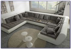 Leather U Shaped Sectional Sofa