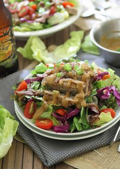 Asian Turkey Burger Salad with Peanut Dressing by Running to the Kitchen