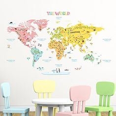 Decowall,DLT-1616,The World Map peel & stick wall decals ...
