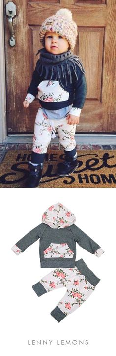 Lovely 2 piece outfit for your baby girl. Trendy floral print. Soft + cozy to wear all day! Sweet and swag at the same time. Lenny Lemons Apparel, Baby and Toddlers Clothing. #Babygirl #babiesoutfit #babies #flowers