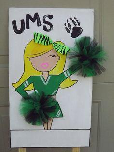 I like the idea for poms - but for smaller locker poster better Cheerleader yard sign. Football Cheer, Cheer Camp, Cheer Coaches, Cheer Dance, Cheer Tryouts, Football Spirit, Football Season, Cheer Gifts, Team Gifts