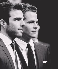 Zachary Quinto and Chris Pine. Amazing as Kirk and Spock