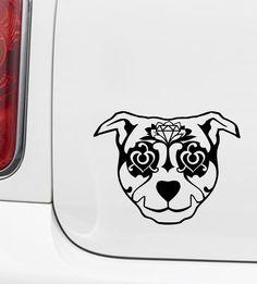 CAR - Sugar Skull Dog - Day of the Dead - Día de los Muertos - Car | Truck |Outdoor Use Vinyl Decal - © 2016 YYDC (Size and Color Choices)
