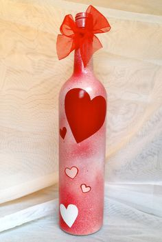 Valentine's Day Wine Bottle  - fill with M&M's or other small candies for a great Valentine's Day gift!