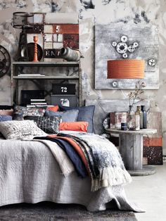 Today, I have for you beautiful autumn inspiration by is. Industrial Workspace, Industrial Bedroom, Bedroom Rustic, Industrial Design, Diy Home Decor Bedroom, Bedroom Bed, Bedrooms, Small Apartment Decorating, Interior Decorating