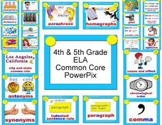 Fourth and Fifth Grade ELA Common Core PowerPix from Transitional Kinder with… 5th Grade Ela, Teaching 5th Grade, 5th Grade Reading, Fifth Grade, Teaching Tools, Teaching Ideas, Whole Brain Rules, Whole Brain Teaching, Common Core Ela