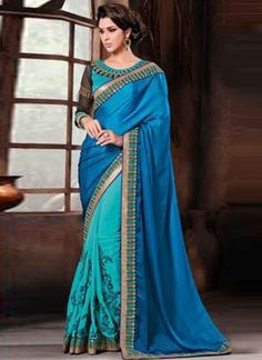 Angelic Blue Shaded Embroidered Thread Work Lace Border Designer Sarees http://www.angelnx.com/Sarees/Party-Wear-Sarees