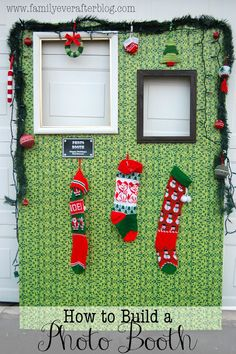 How to build a photo booth for an ugly sweater party....this is awesome! Nursing Christmas party next year!