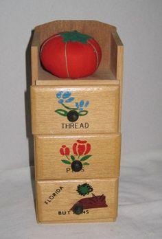Thread Pin Button Pincushion Holder Vintage Wooden by RetroExchange on Etsy