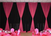 Pink and Black Wedding Decorations- Curtains, Chair Covers, and Table Covers Pink Black Weddings, Fuschia Wedding, Black And White Wedding Theme, Wedding Types, Our Wedding, Dream Wedding, Chair Covers, Table Covers, Debut Ideas