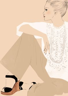 top+shoes color at Chloe Attributes by Sandra Suy - Pencil, Watercolor illustration. Fashion, Beauty