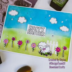 Watch this Easter card video tutorial to see how our design team elf Shylaa made this fabulous Easter card. She has used our 'Happy Easter' stamp set. Handmade Greetings, Greeting Cards Handmade, Craft Online, Easter Card, Craft Shop, Craft Gifts, Happy Easter, Wedding Stationery, Card Making