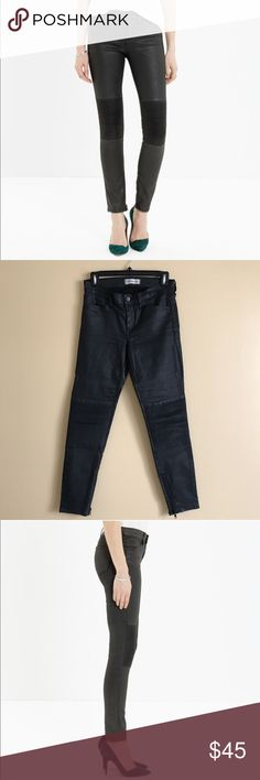 """Madewell Skinny Skinny Zip Racetrack Jeans Madewell Skinny Skinny Zip Racetrack Jeans, Size 27, #LikeNew, Only Worn twice. Retails $138  •Sleek pintuck panels for a bit of #biker cool  •Coated stretch denim gives a #leather look •Cropped with ankle zips •Fitted through hip and thigh, with a slim leg. •Front rise: 8"""". •Inseam: 28"""". •76% cotton/26% nylon/2% elastane.  *** Price Includes Shipping!! ***  #madewell #denim #skinnyjeans #skinnyskinny #leather #coateddenim #biker #bikercool #edgy…"""