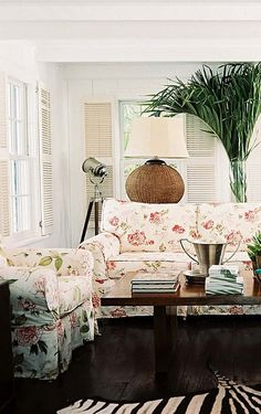 Floral couch/chair looks lovely in this space and the interior shutters are a fav Floral Couch, British Colonial Decor, Interior Shutters, Living Spaces, Living Room, Family Room, Interior Design, House Styles, Coastal Style
