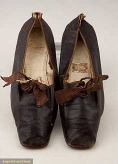 Augusta Auctions, November, 2007 -Tasha Tudor Historic Costume Collection, Lot 314: Lady's Leather Tie Shoes, 1830-1850