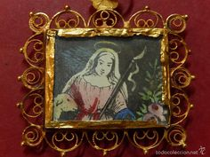 Bajo de rosario mallorquín. Siglo XIX o anterior. Oro y grabado coloreado. Mallorca. - Foto 1