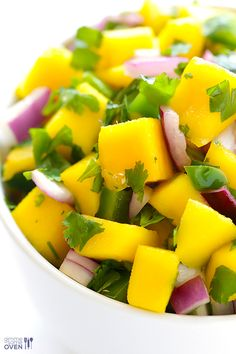 5-Ingredient Mango Salsa Recipe | gimmesomeoven.com #glutenfree #vegan #mexican