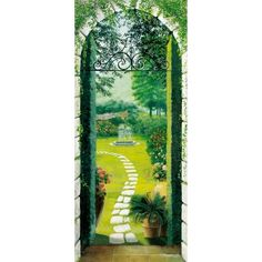 A cobblestone walkway to a garden paradise is showcased in this lovely wall mural. Artistically drawn shades of greens specked with reds and pinks make this mural one of beauty. Created by Ideal Decor this mural is an impressive decor idea for any ro Cobblestone Walkway, Brick Pathway, Door Murals, Flower Wall Decals, Mural Painting, Hair Painting, Paintings, Of Wallpaper, Cool Walls