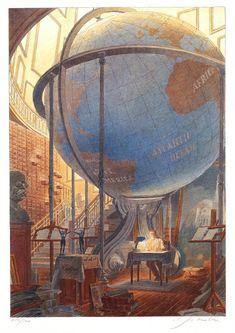 Paul Otlet et le Mundaneum - 1998 – Lithographie illustrée par François Schuiten
